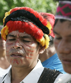 Indians in Yurimaguas, Peru, have blocked the road in an anti-government protest. (Photo: Karel Navarro / AP)